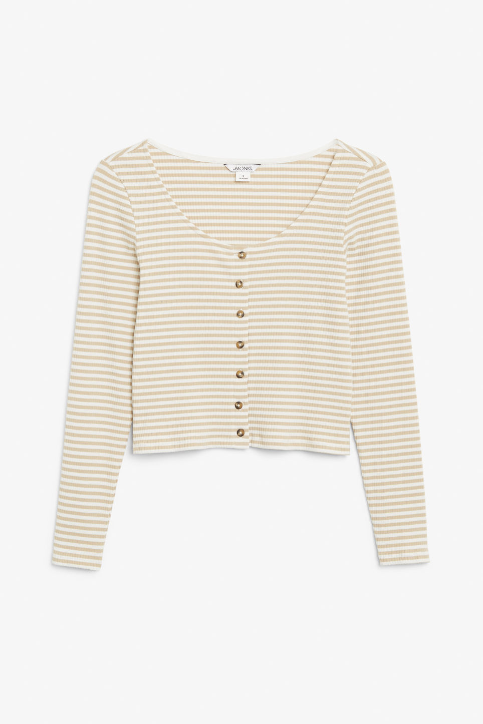Front image of Monki scoop neck top in beige