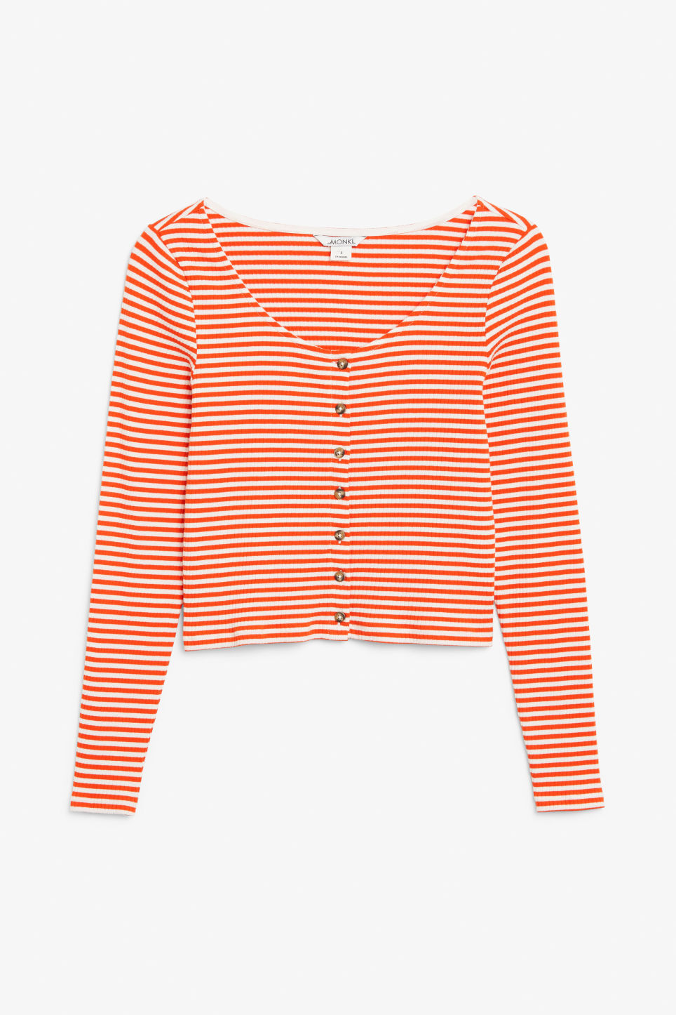 Front image of Monki scoop neck top in orange