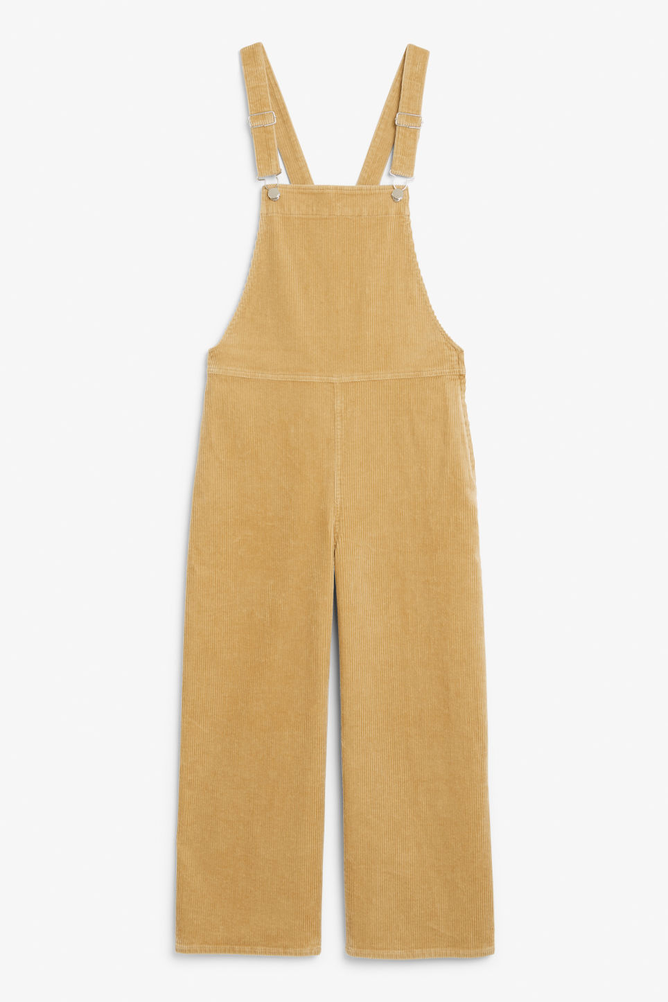 Front image of Monki corduroy dungarees in beige