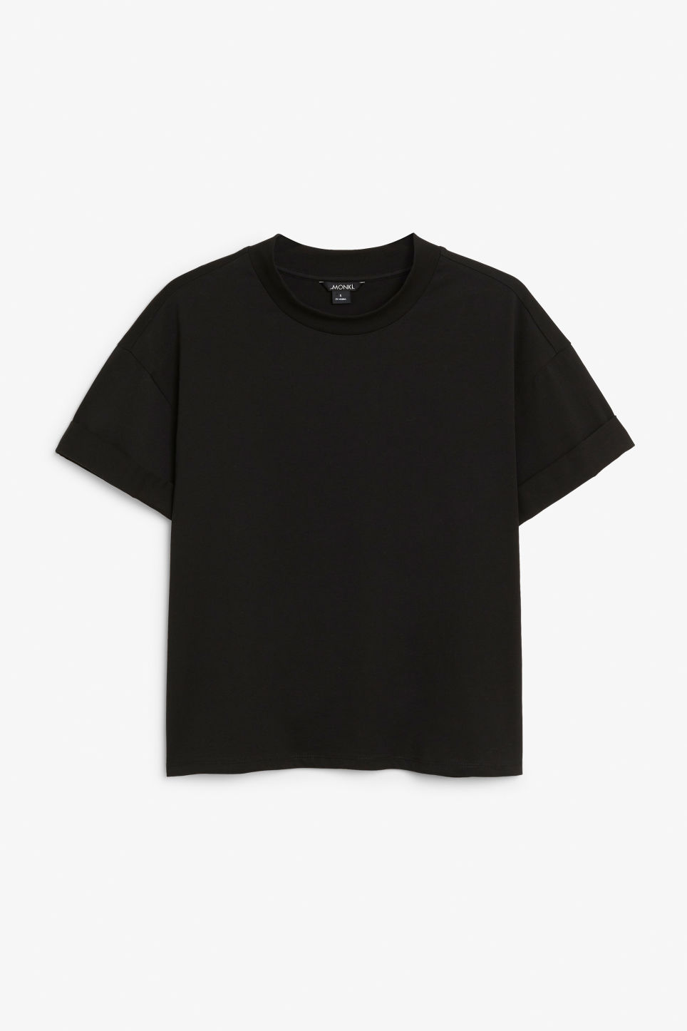 Front image of Monki rolled sleeve t-shirt in black