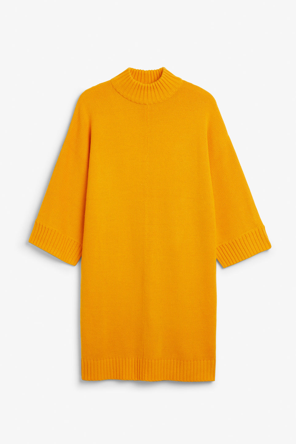 Front image of Monki turtleneck knit dress in yellow