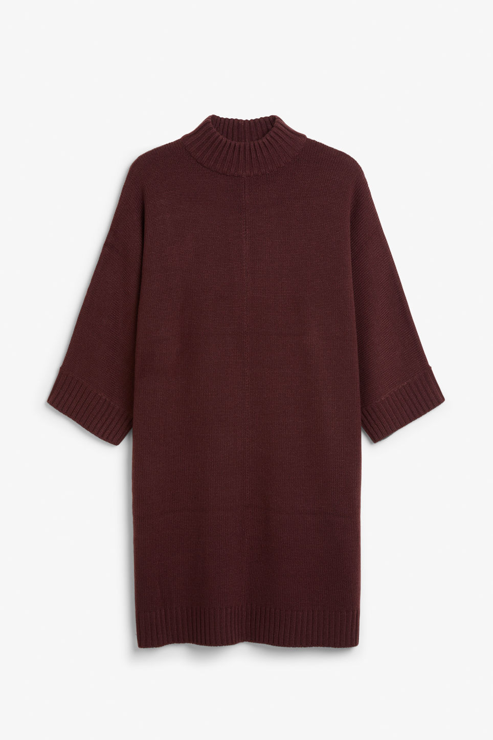 Front image of Monki turtleneck knit dress in red