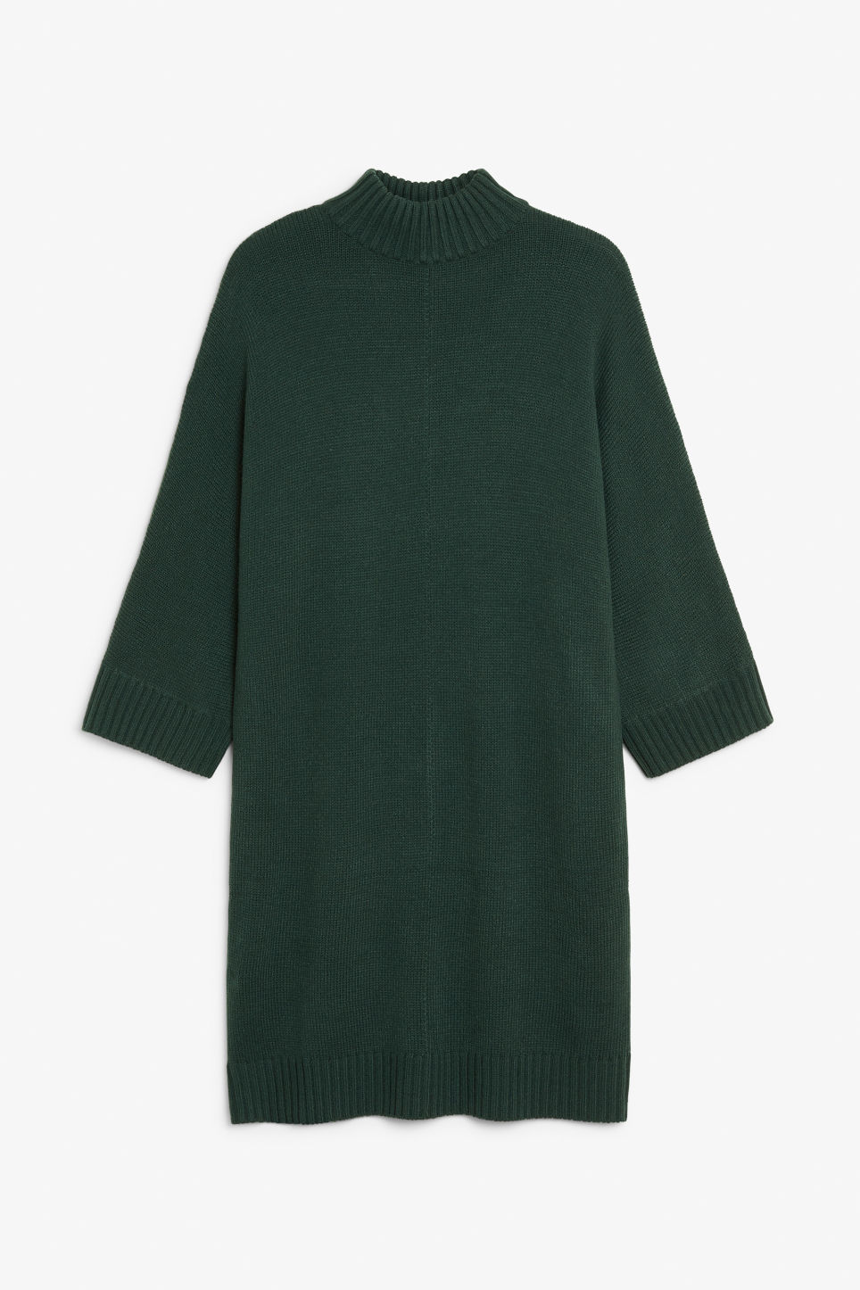 Front image of Monki turtleneck knit dress in green