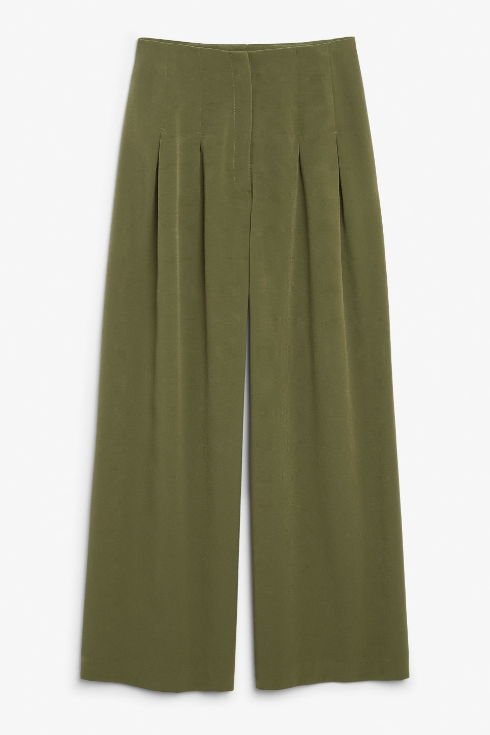 Front image of Monki wide-legged trousers in green