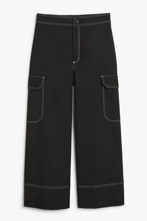 Front image of Monki utilitarian trousers in black