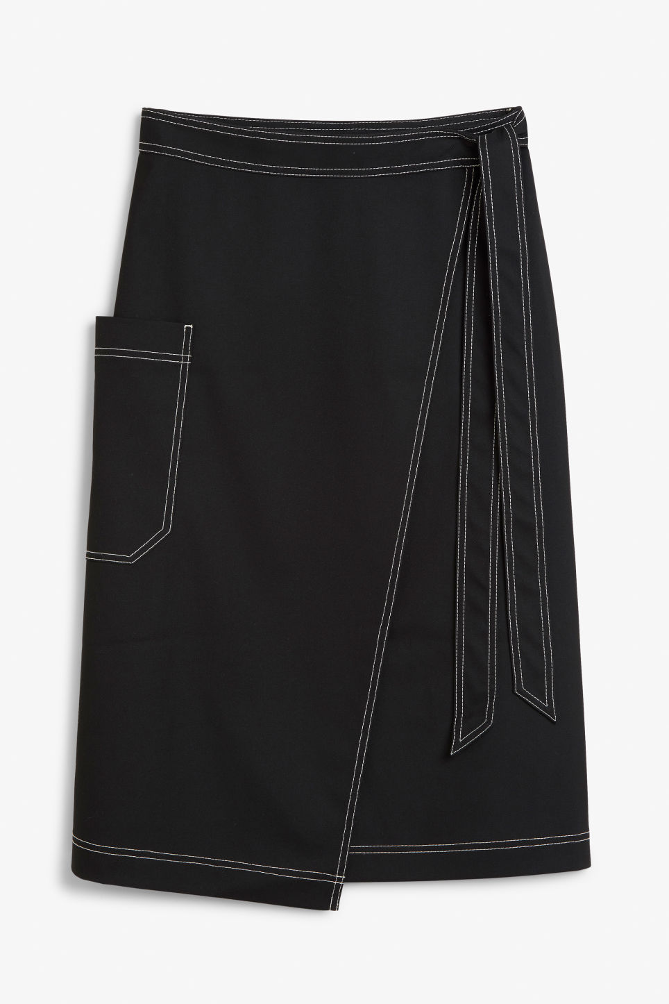Front image of Monki utility midi skirt in black