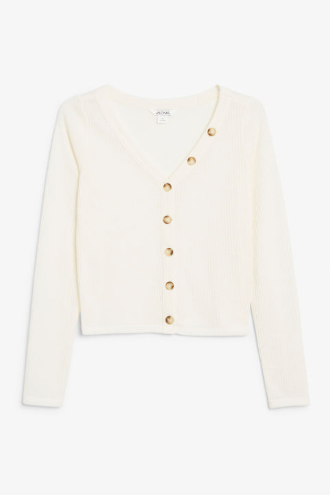 Front image of Monki button-up top in white