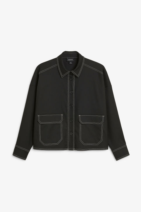 Front image of Monki utility shirt in black