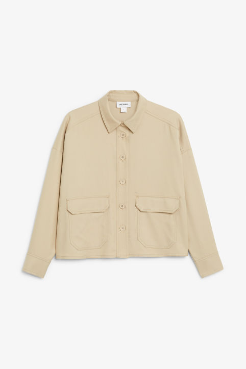 Front image of Monki utility shirt in beige