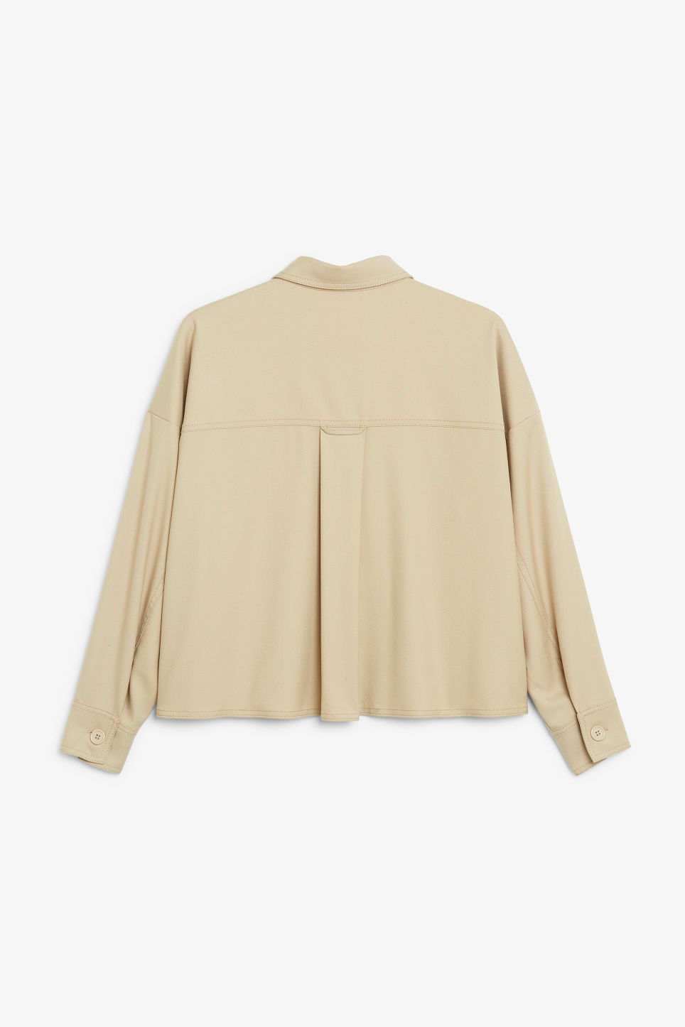 Back image of Monki utility shirt in beige