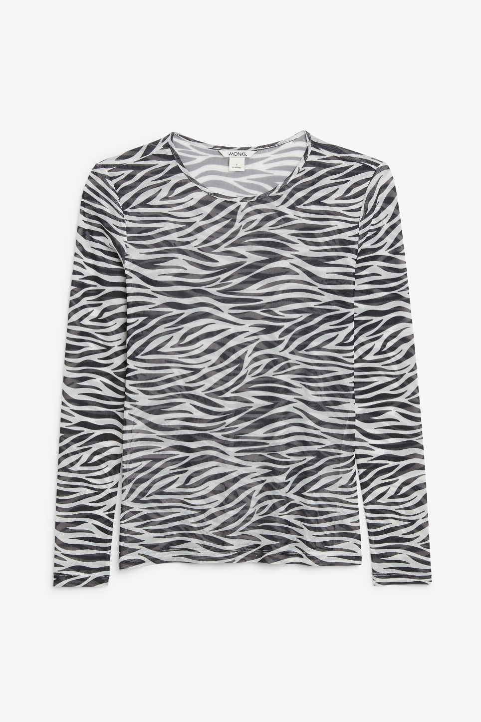 Front image of Monki long-sleeved mesh top in white