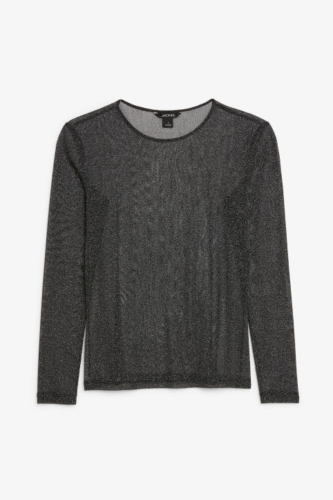 Front image of Monki long-sleeved mesh top in black