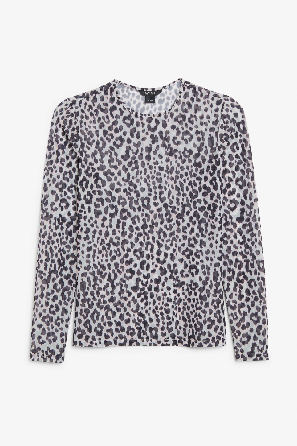 Front image of Monki long-sleeved mesh top in beige