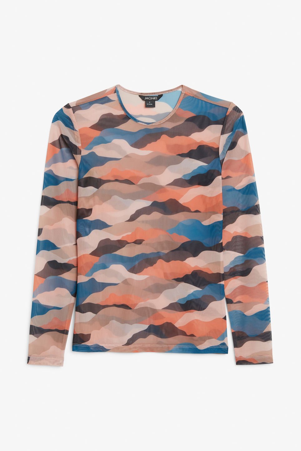 Front image of Monki long-sleeved mesh top in pink