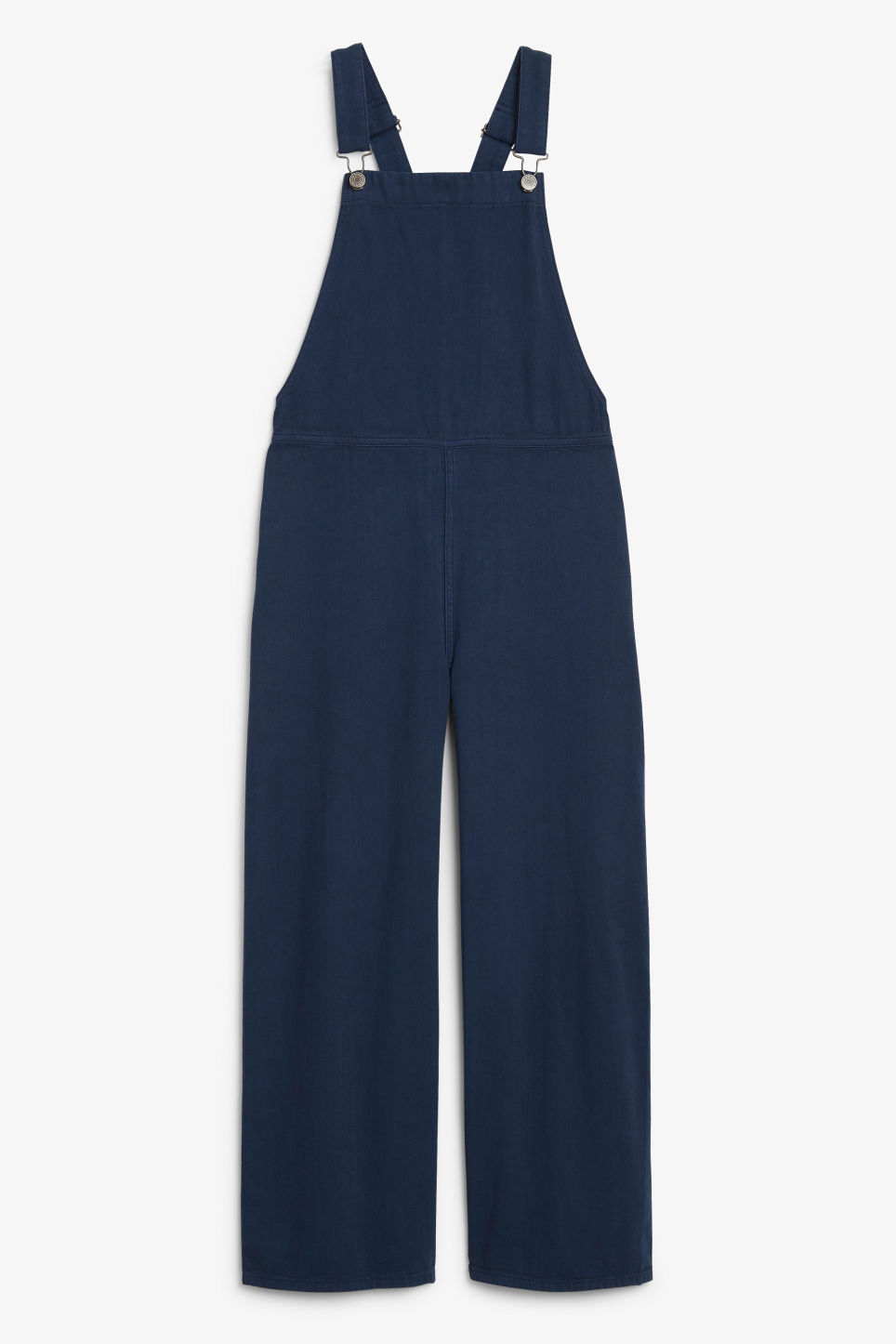 Front image of Monki classic cotton dungarees in blue