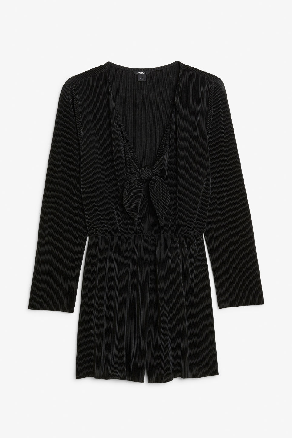 Front image of Monki pleated playsuit in black