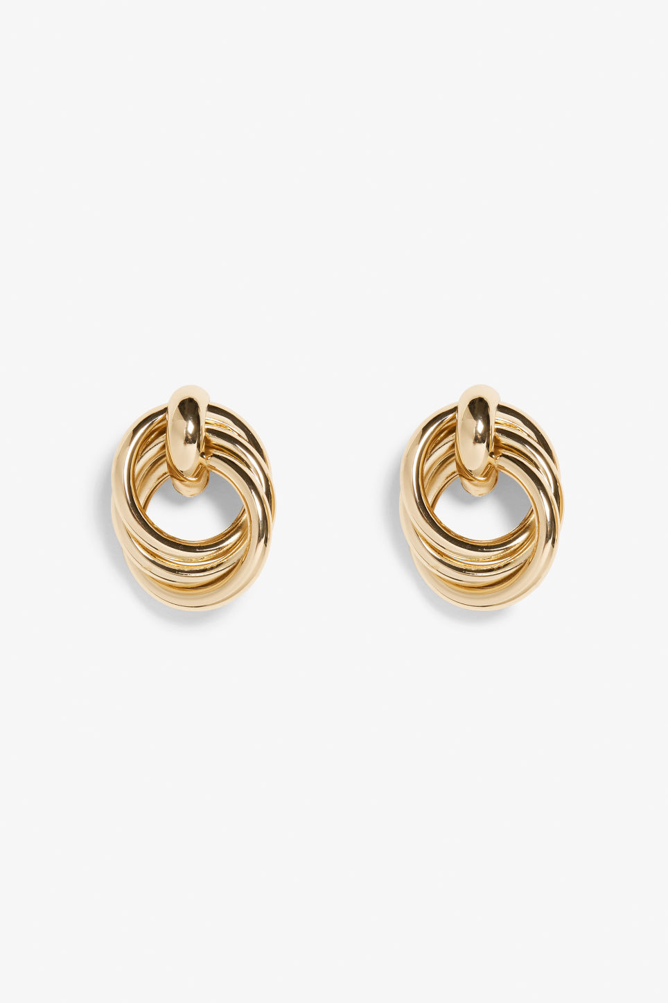 Front image of Monki combined triple hoop earrings in gold
