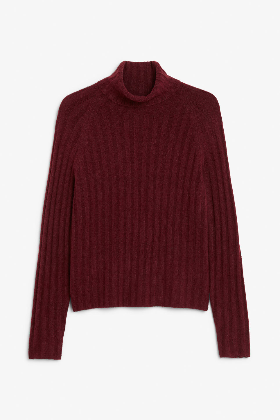 Front image of Monki knit turtleneck sweater in red