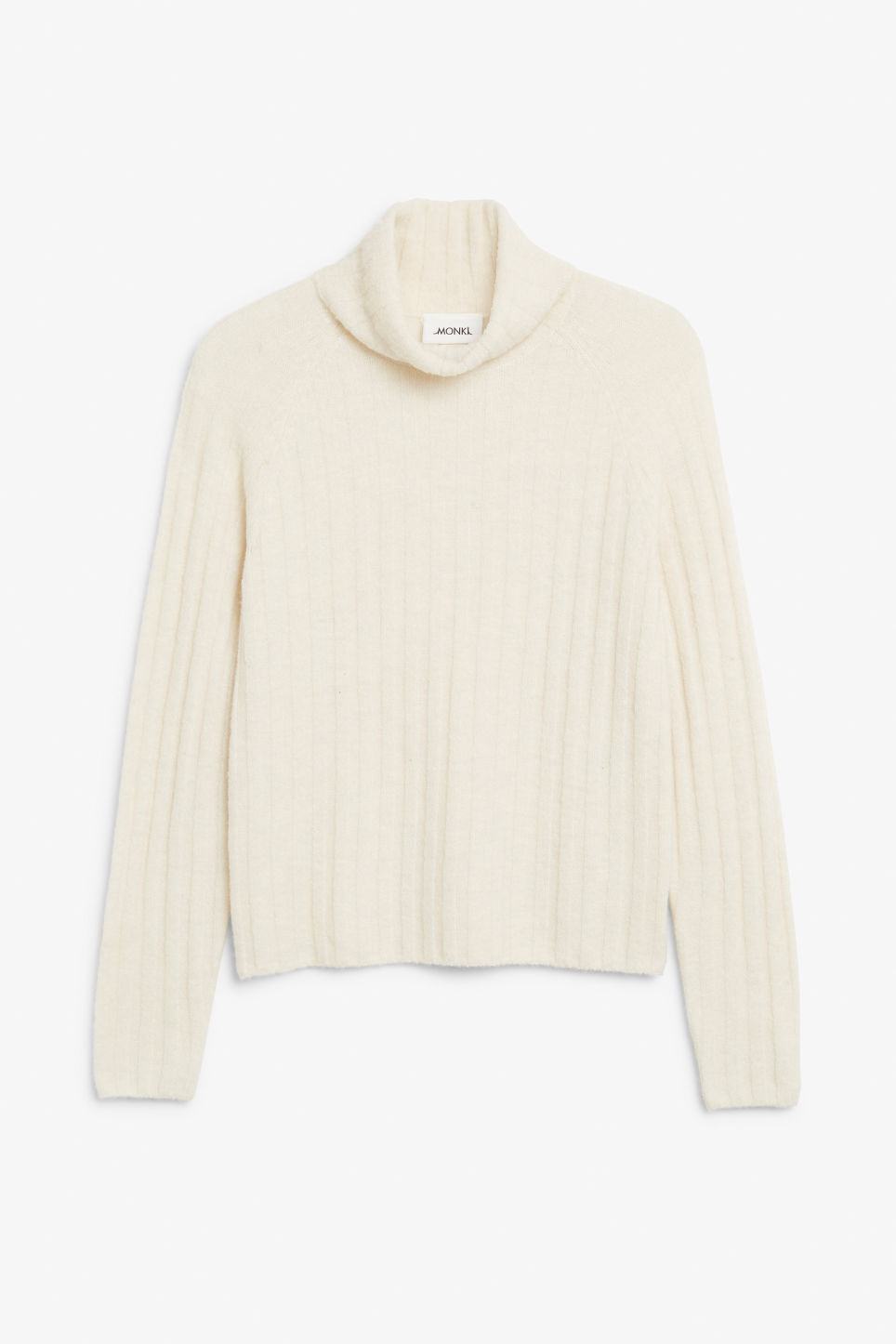 Front image of Monki knit turtleneck sweater in white