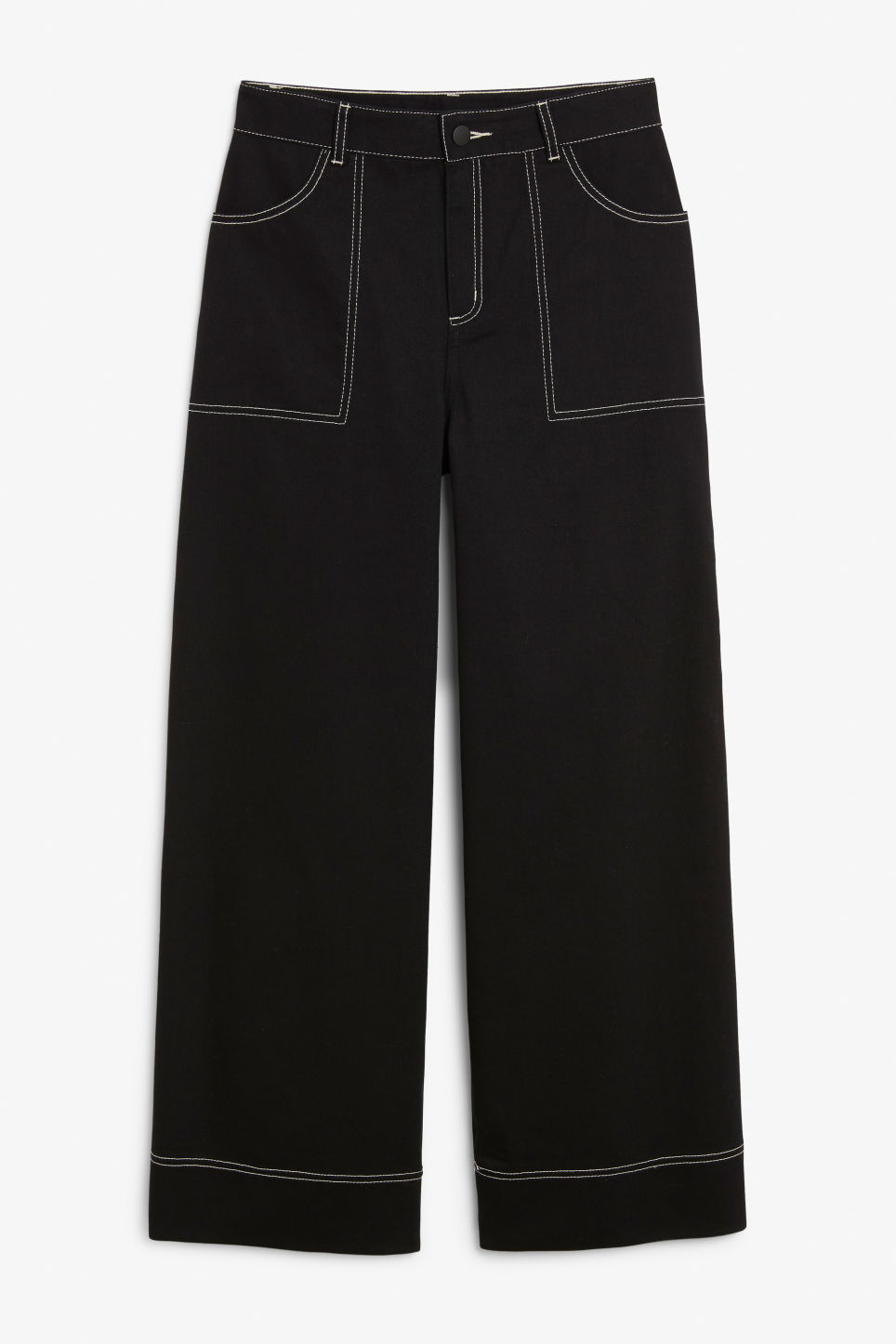 Front image of Monki contrast stitch utility trousers in black