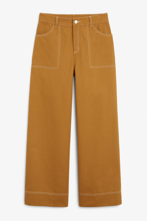 Front image of Monki contrast stitch utility trousers in yellow