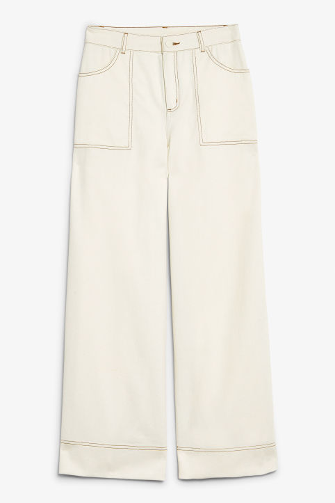 Front image of Monki contrast stitch utility trousers in beige