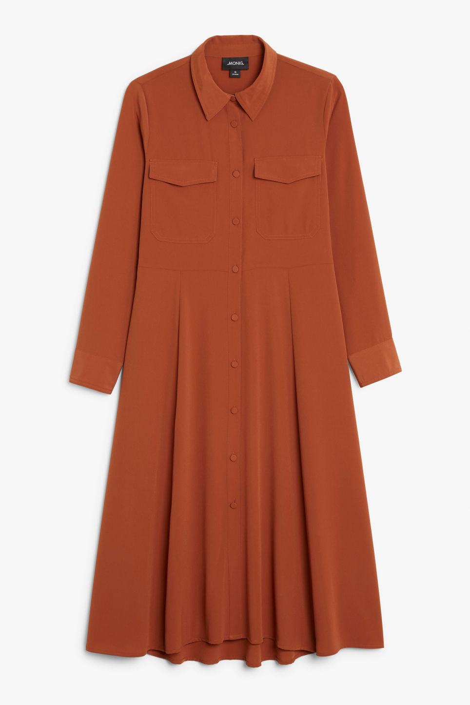 Front image of Monki utility shirt dress in orange