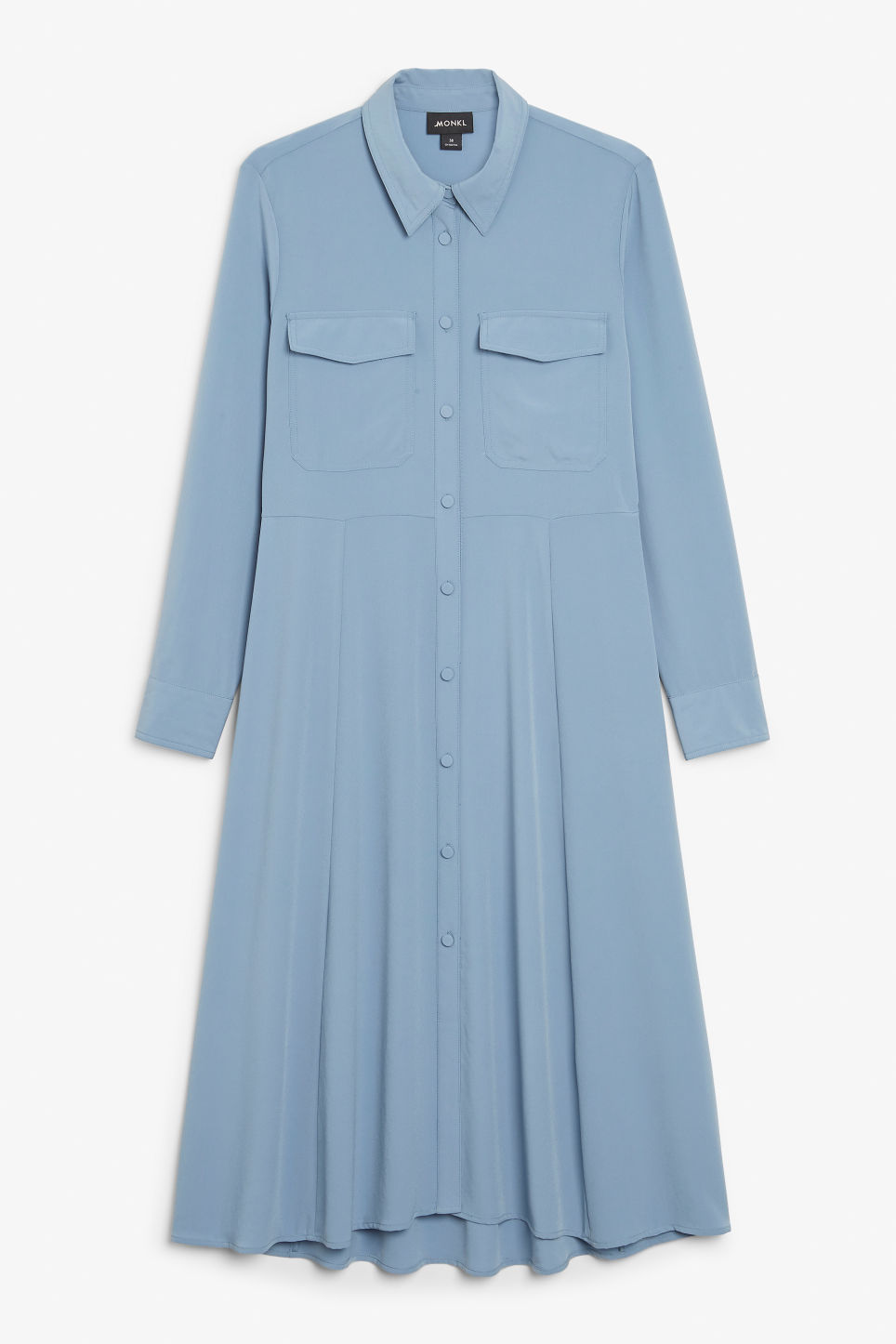 Front image of Monki utility shirt dress in blue