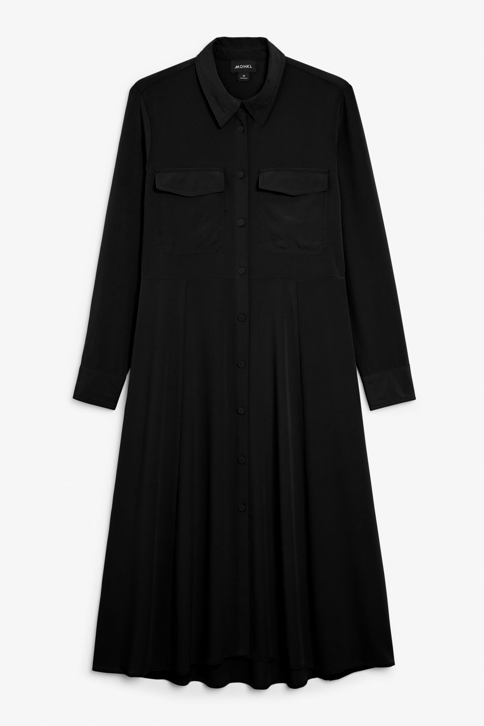 Front image of Monki utility shirt dress in black