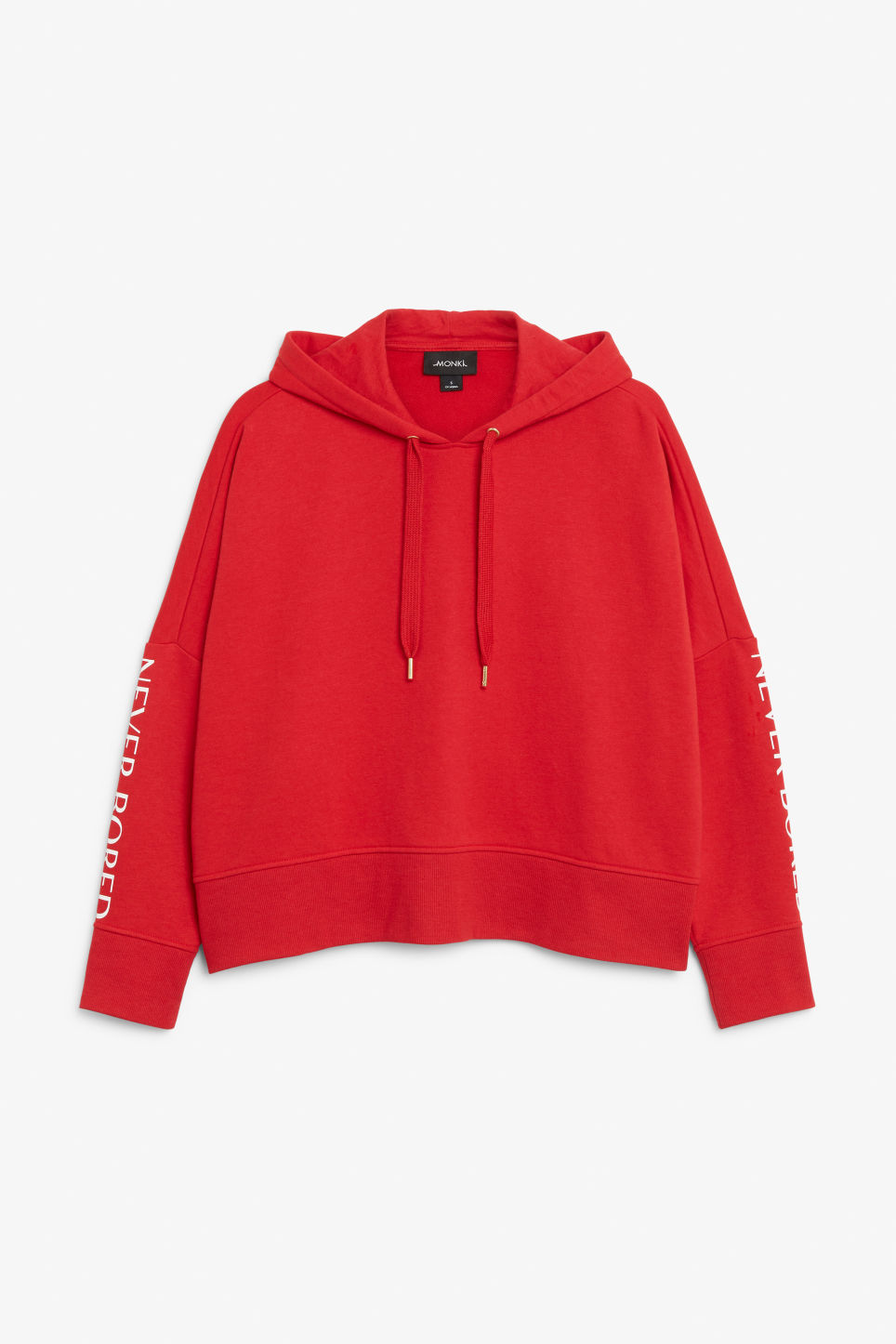 Front image of Monki embroidered hoodie in red