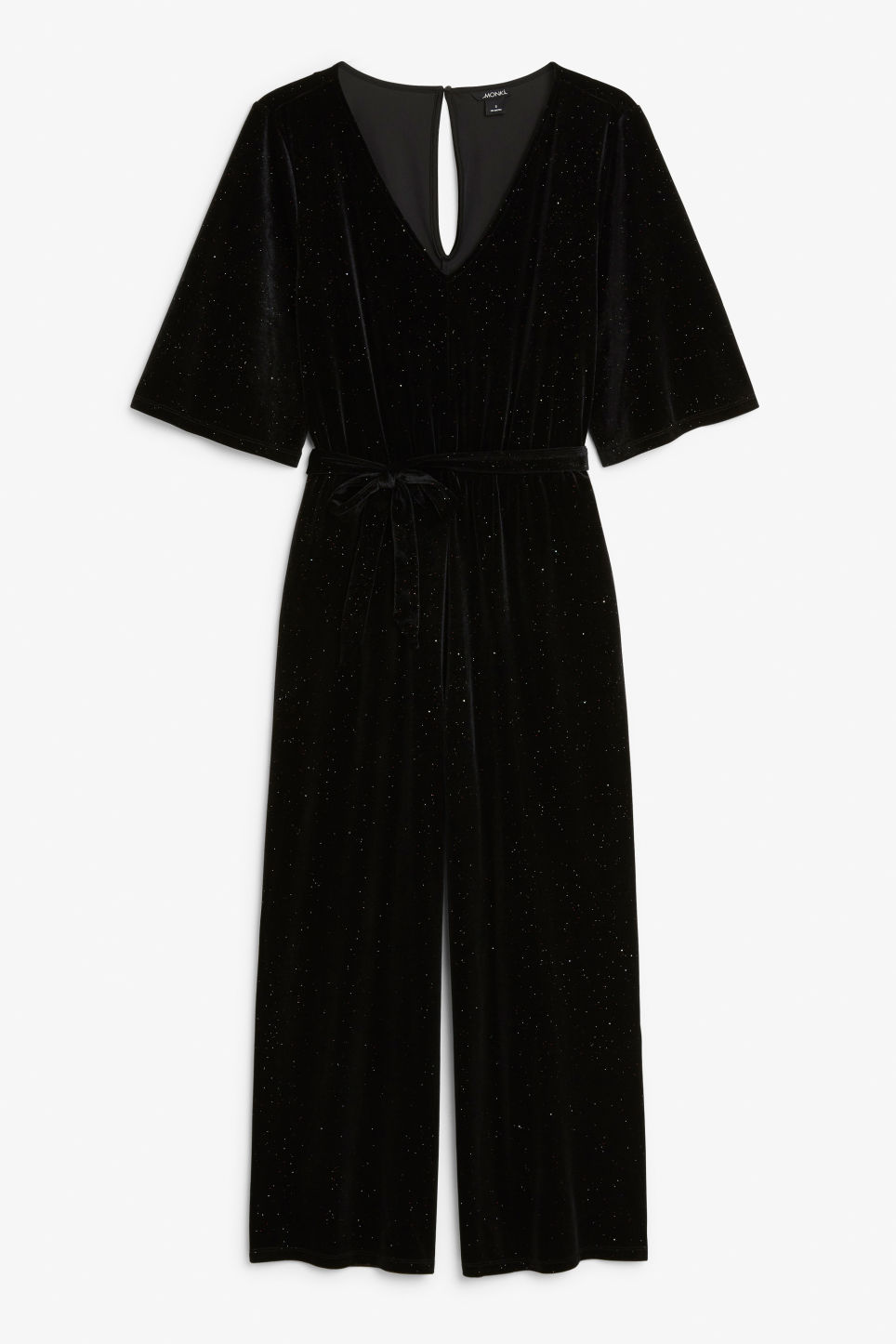Front image of Monki velvet jumpsuit in black