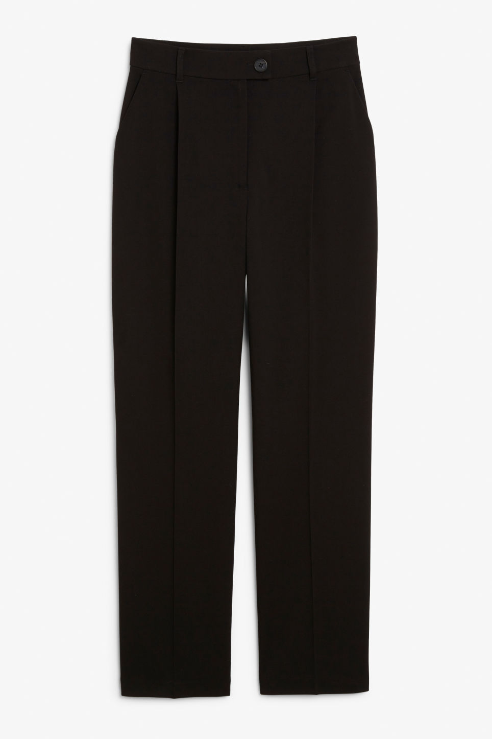 Front image of Monki creased trousers in black