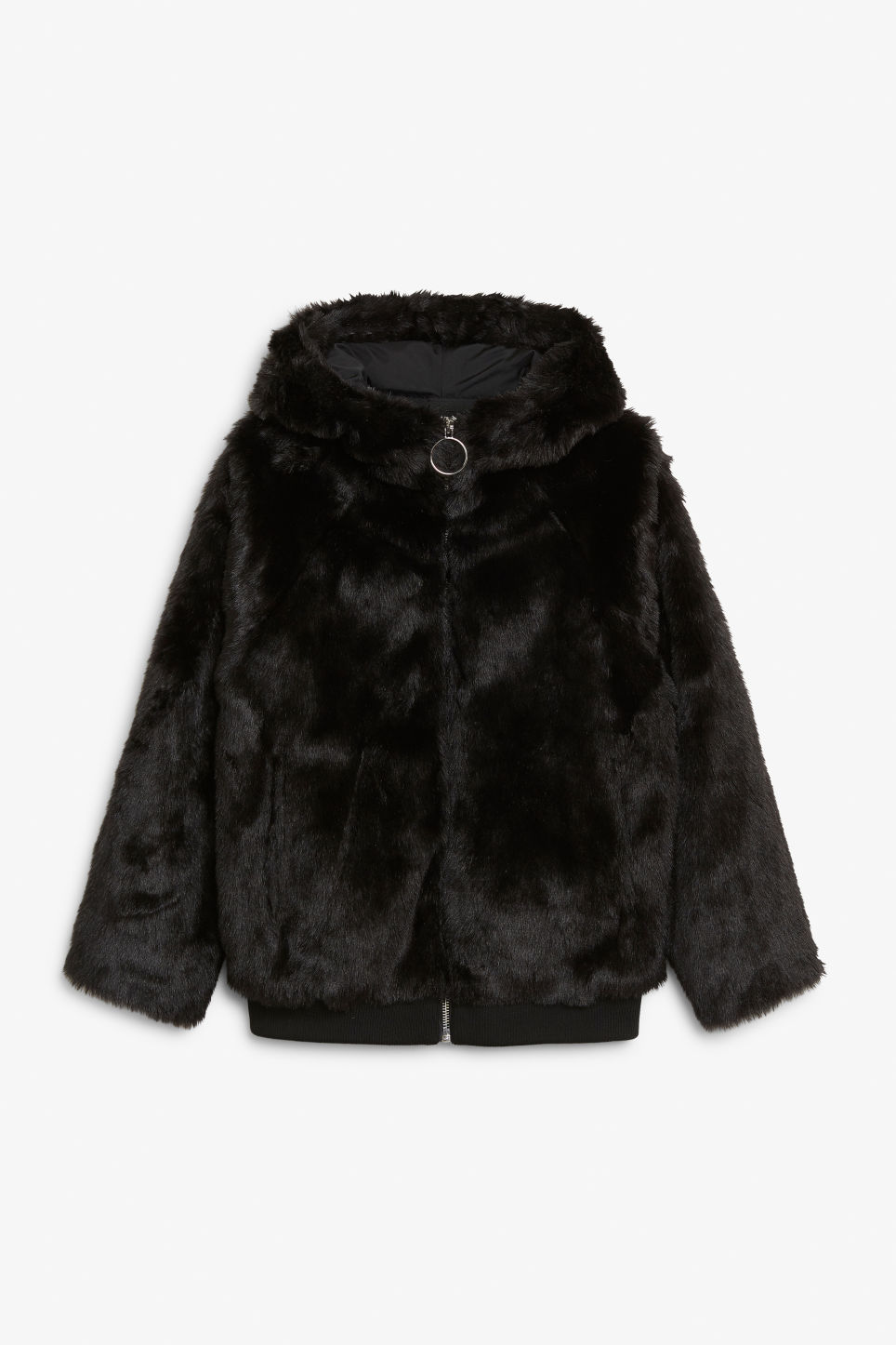 Front image of Monki hooded faux fur jacket in black