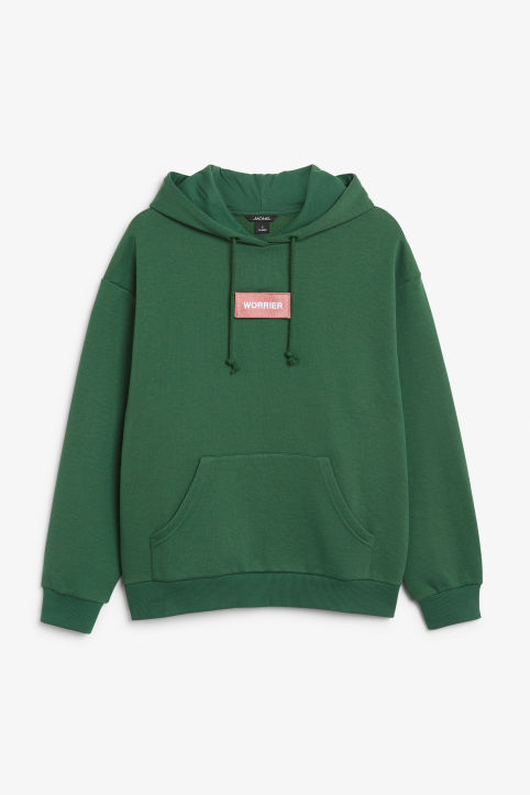 Front image of Monki swap-it hoodie in green