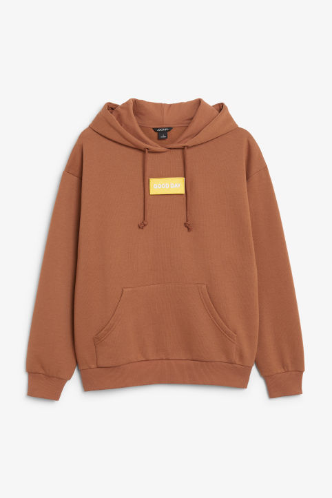 Front image of Monki swap-it hoodie in orange