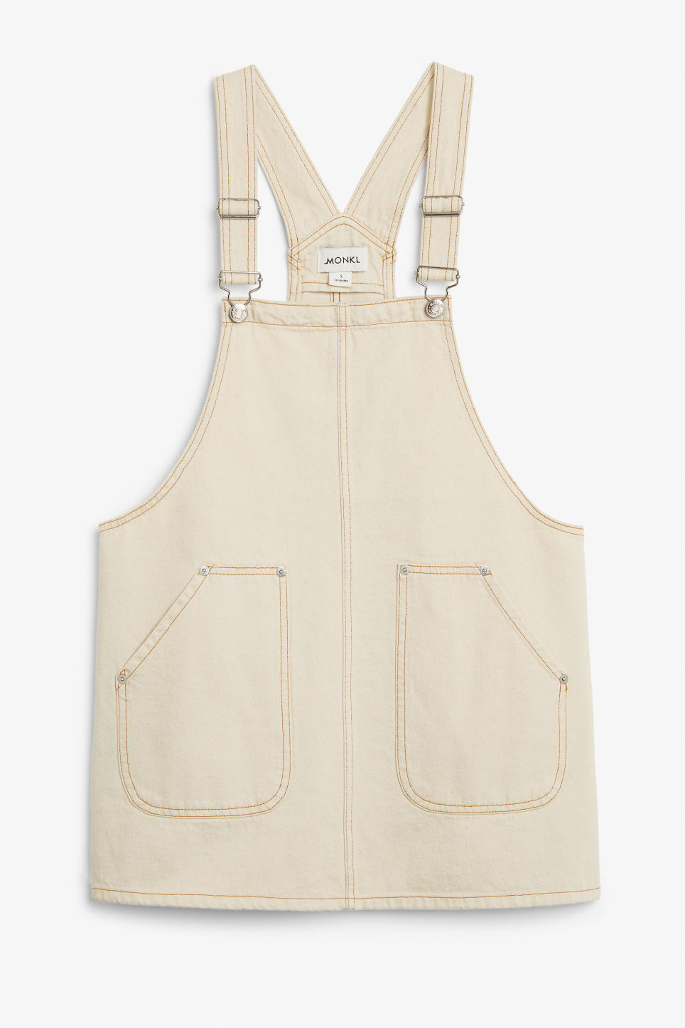 Front image of Monki denim dungaree dress in white