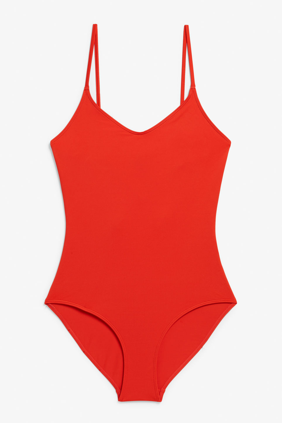 Front image of Monki cross-back tie swimsuit  in red