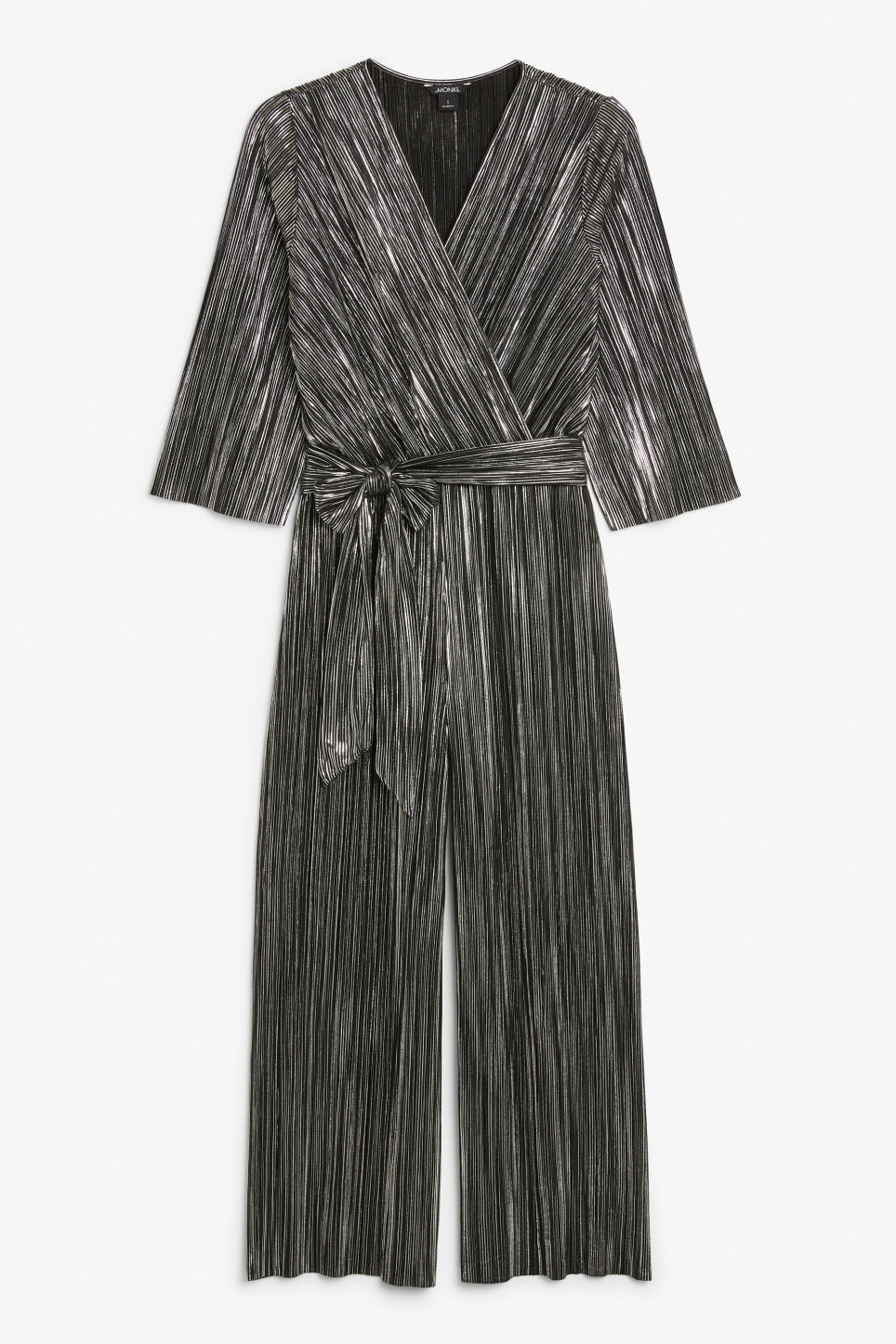 Front image of Monki pleated jumpsuit in silver