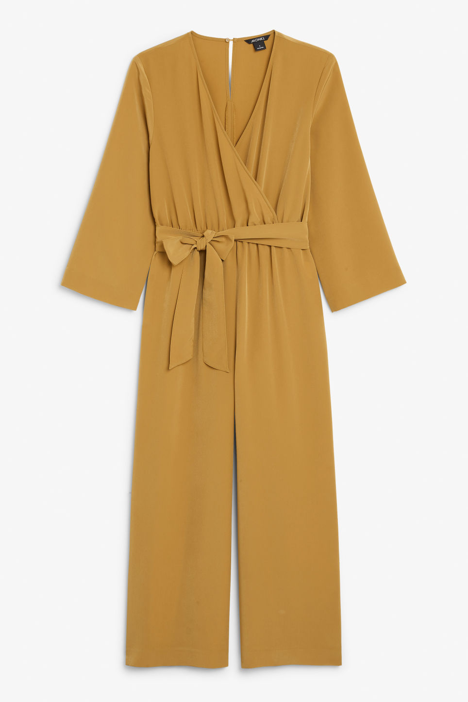Front image of Monki pleated jumpsuit in yellow