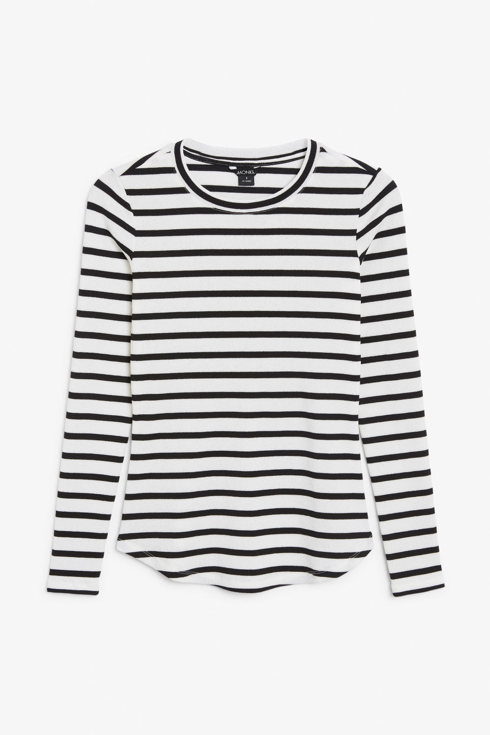 Front image of Monki ribbed long-sleeved top in white