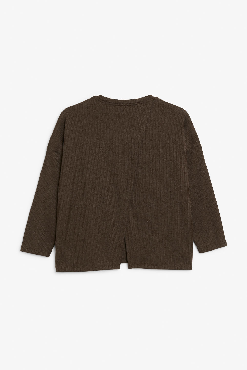 Back image of Monki ribbed top in brown