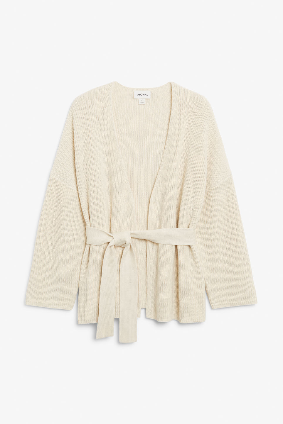 Front image of Monki chunky wrap top in beige