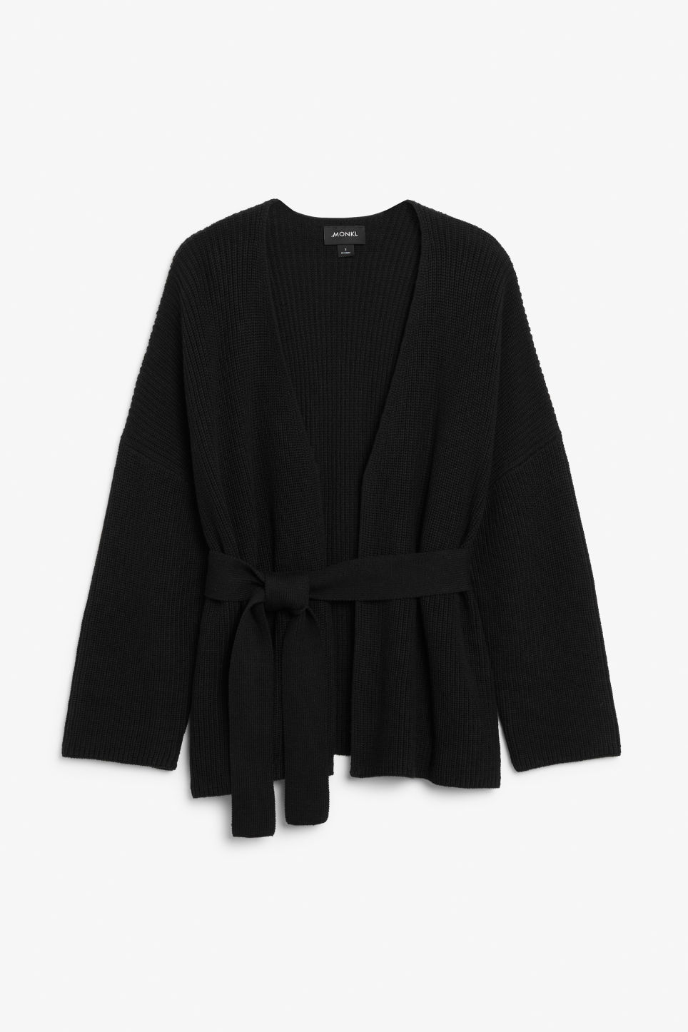 Front image of Monki chunky wrap top in black