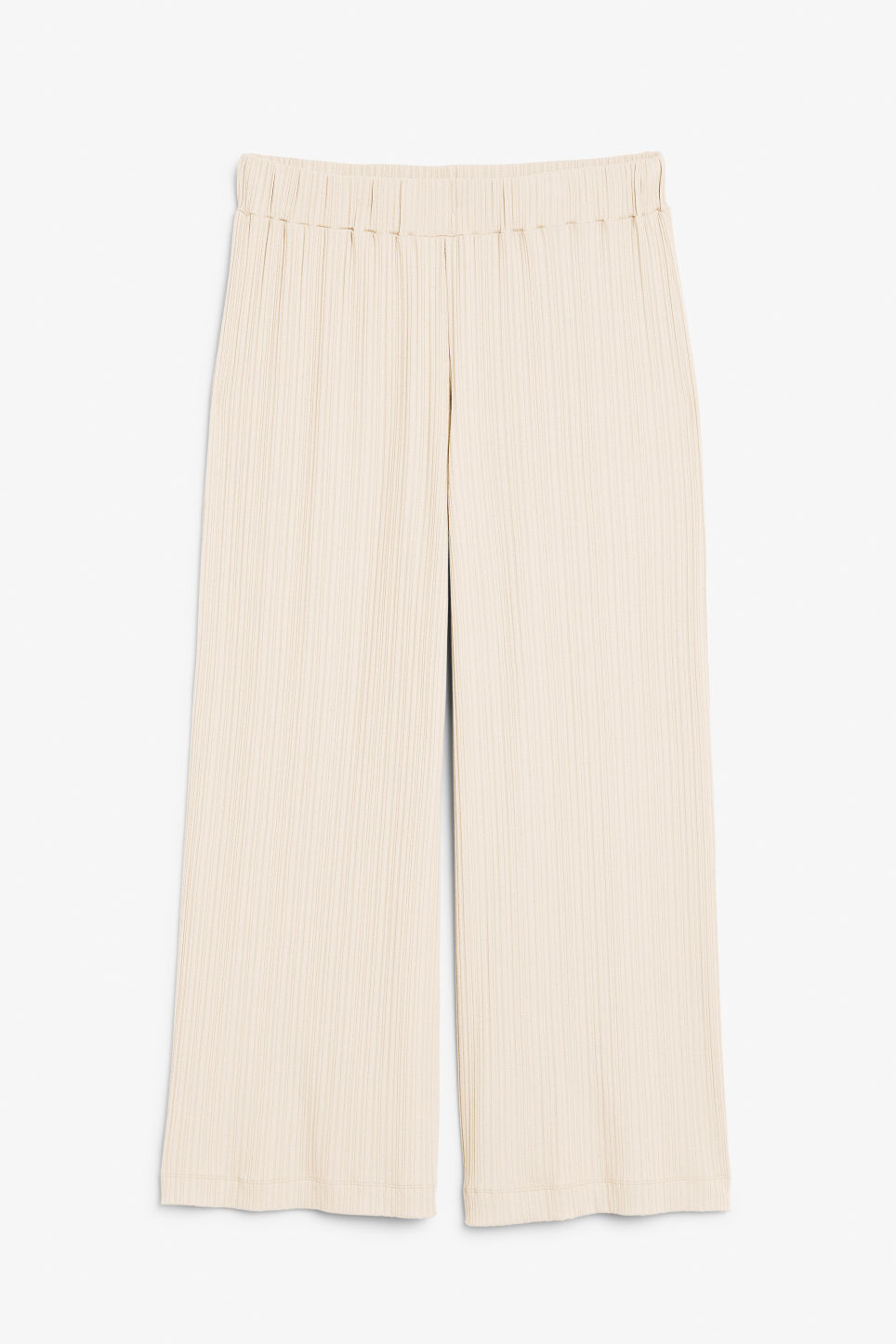 Front image of Monki ribbed trousers in beige