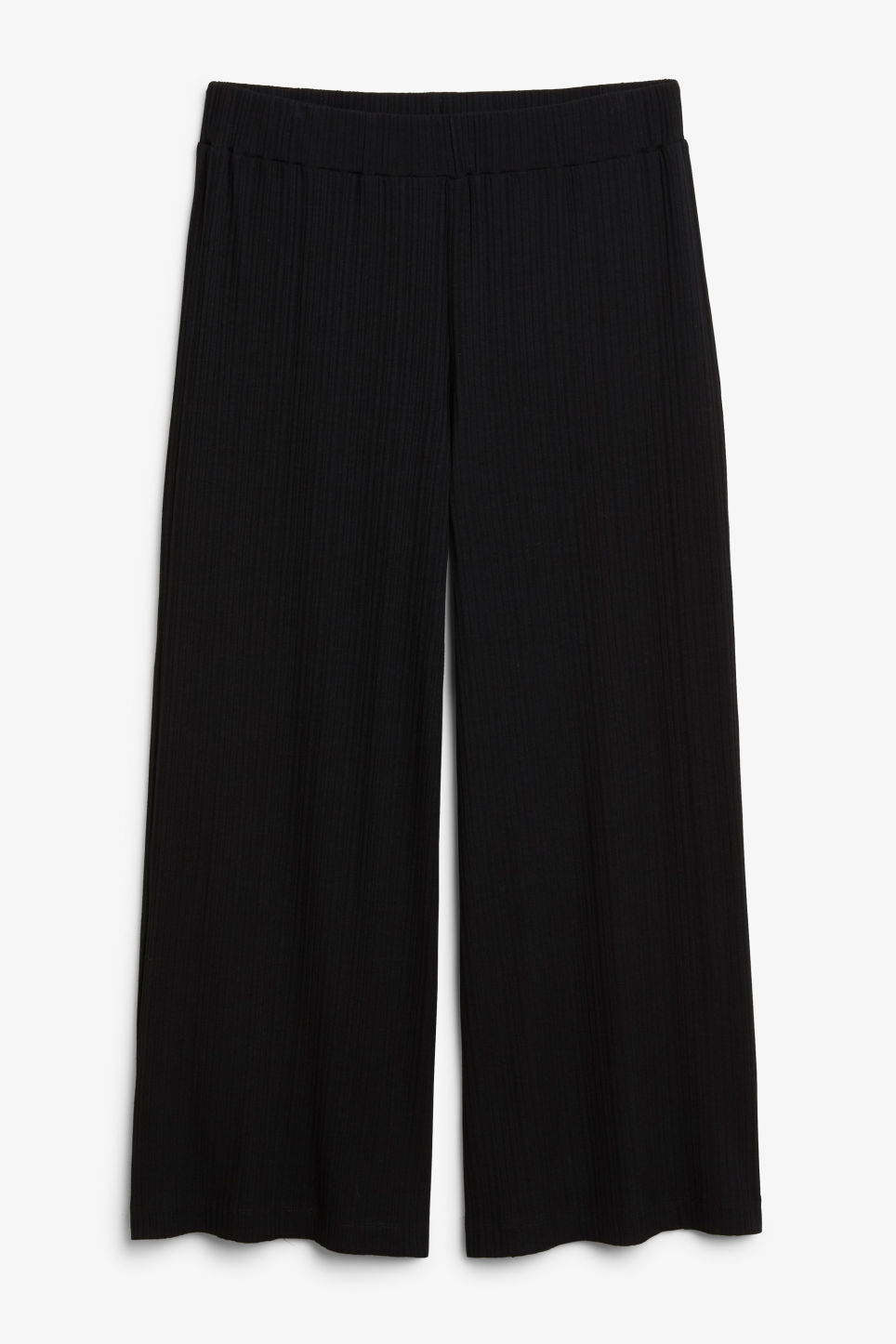 Front image of Monki crepe culottes in black