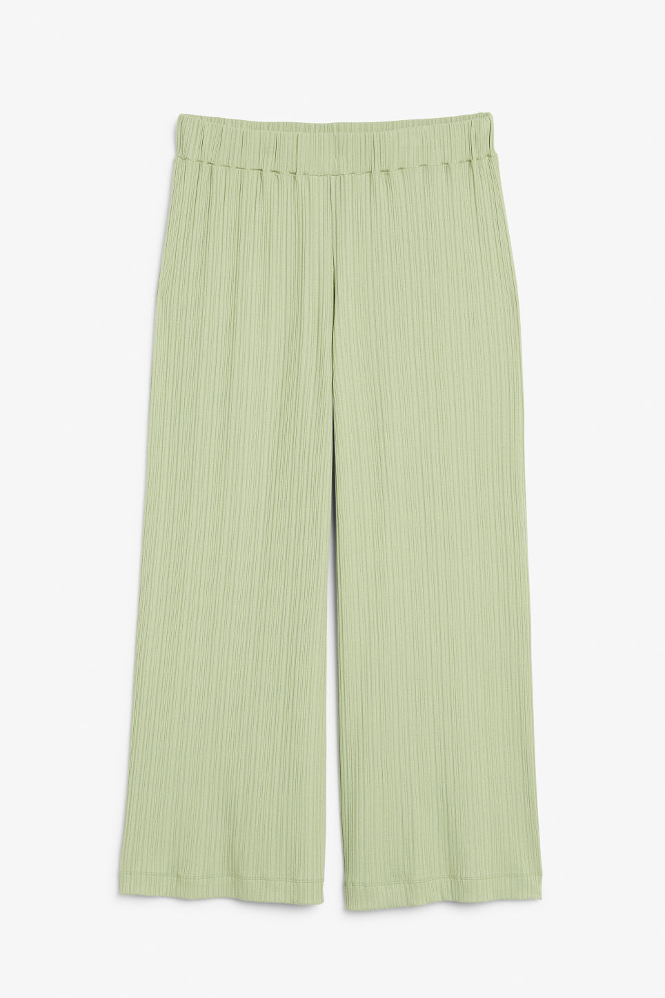 Front image of Monki ribbed trousers in green