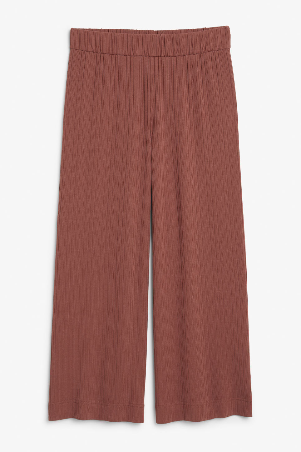 Front image of Monki ribbed trousers in orange
