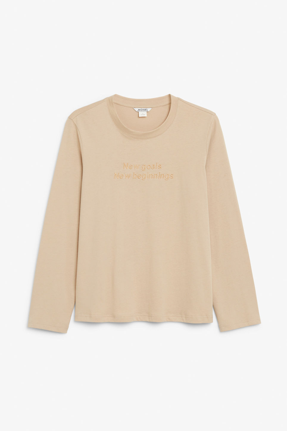 Front image of Monki long-sleeved top in beige