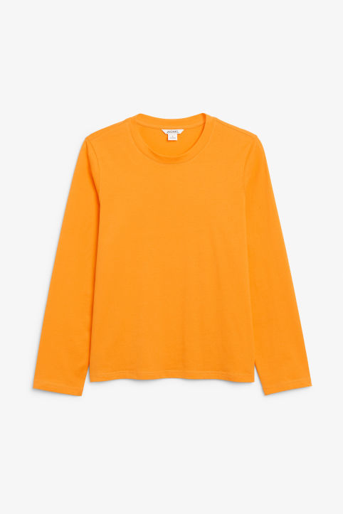 Front image of Monki long-sleeved top in orange