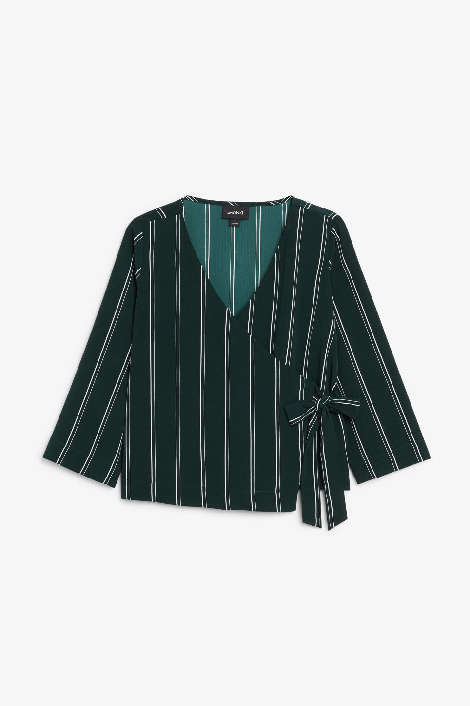 Front image of Monki silky blouse in green